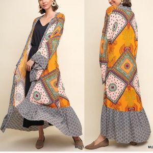 Umgee Boho Hippie Kimono Cardigan Duster Tunic